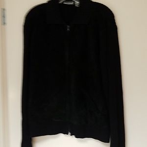 Chico's black suede and sweater jacket, sz 2(12-14